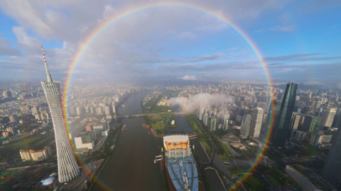 【有片】廣州驚現雙圓圈彩虹 高空俯視可見完整圓形