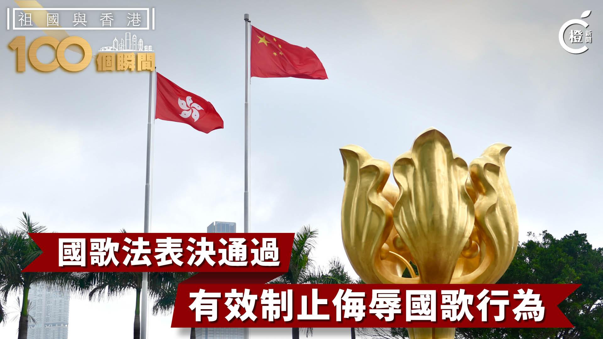 【祖國與香港100個瞬間】國歌法表決通過 有效制止侮辱國歌行為